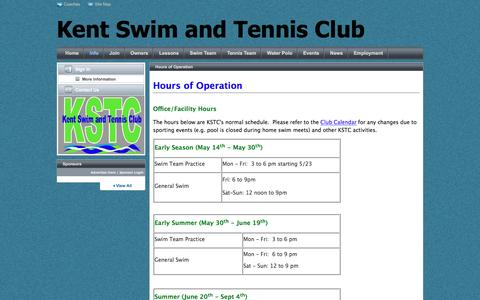 Screenshot of Hours Page teamunify.com - Kent Swim and Tennis Club : Hours of Operation - captured Nov. 27, 2016
