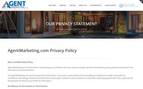 Screenshot of Privacy Page agentmarketing.com - AgentMarketing.com - Privacy Statement - captured June 25, 2017