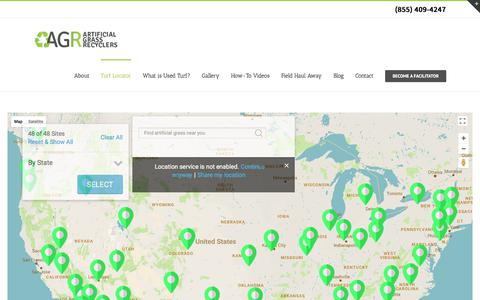 Screenshot of Locations Page artificialgrassrecyclers.com - Want to buy cheap artificial grass? We have nationwide locations - captured July 30, 2018