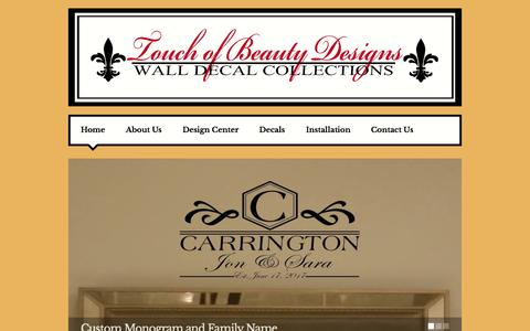 Screenshot of Home Page touchofbeautydesigns.com - Home - captured June 22, 2015