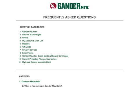 FAQ | Gander Mountain