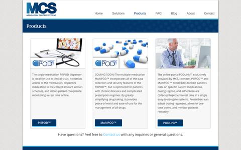 Screenshot of Products Page medicationcontrolsystems.com - Products - Medication Control SystemsMedication Control Systems - captured Oct. 1, 2014