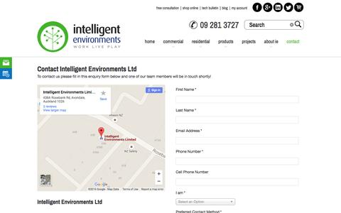 Screenshot of Contact Page intelligentenvironments.co.nz - Intelligent Environments Ltd - Free Consultation - captured Feb. 11, 2016