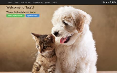 Screenshot of Home Page tagd.com.au - Tag'd - reuniting lost pets fast | Digital Pet Tags - captured Sept. 30, 2014