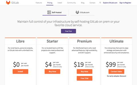 Screenshot of Products Page gitlab.com - GitLab Pricing | GitLab - captured March 12, 2018