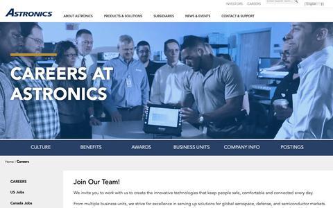 Screenshot of Jobs Page astronics.com - Careers | Astronics - captured Nov. 15, 2018