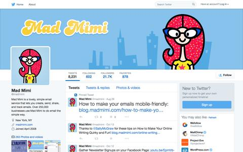 Screenshot of Twitter Page twitter.com - Mad Mimi (@madmimi) | Twitter - captured Oct. 14, 2015