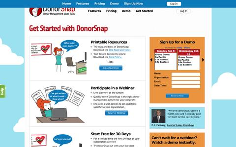 Screenshot of Signup Page donorsnap.com - Get Started with DonorSnap Donor Management Software - captured Feb. 9, 2016