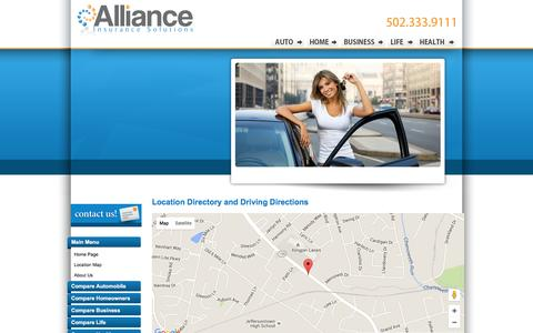 Screenshot of Contact Page Locations Page allianceinsurancesolutions.com - Alliance Insurance Solutions Locations and Driving Directions - captured Dec. 24, 2015