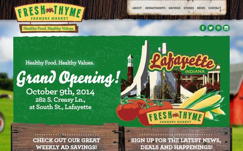 Screenshot of Home Page freshthyme.com - Fresh Thyme Farmers Market - captured Sept. 22, 2014