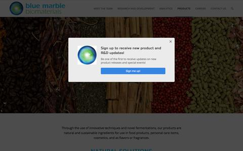 Screenshot of Products Page bluemarblebio.com - Products - Blue Marble Biomaterials - captured Oct. 10, 2017
