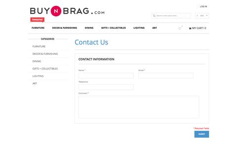 Screenshot of Contact Page buynbrag.com - Magento Commerce - captured Oct. 30, 2014