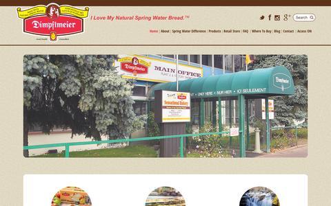 Screenshot of Home Page dimpflmeierbakery.com - I Love My Natural Spring Water Bread™ | Dimpflmeier Bakery - captured Sept. 8, 2015