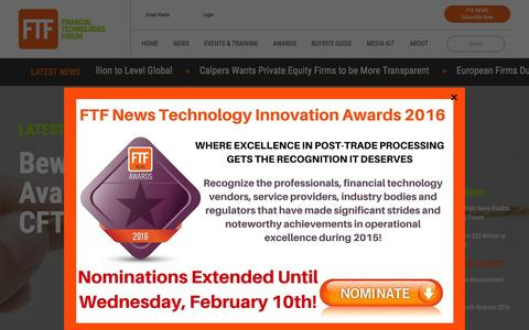 Screenshot of Home Page ftfnews.com - FTF News | Financial Technologies Forum - captured Feb. 10, 2016