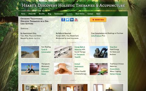 Screenshot of Services Page holisticacupuncture.ca - Offering a Wide Range of Holistic Services - captured Nov. 9, 2018