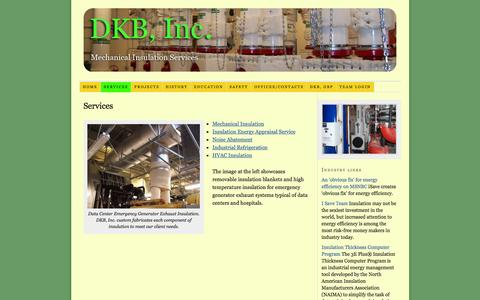Screenshot of Services Page dkbinc.net - DKB,Inc offers mechanical insulation and construction services to the industrial and commercial industries in the Pacific Northwest - captured Jan. 7, 2016