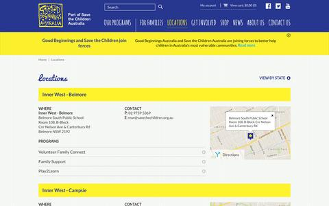 Screenshot of Locations Page goodbeginnings.org.au - Good Beginnings Australia  Locations - captured Jan. 30, 2016