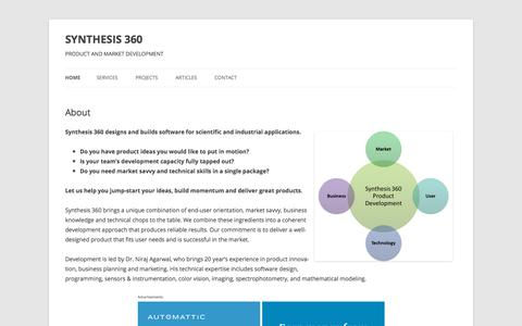 Screenshot of Home Page synthesis360.com - SYNTHESIS 360 | PRODUCT AND MARKET DEVELOPMENT - captured Sept. 21, 2018