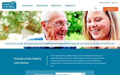 Screenshot of Home Page fote.org.uk - Charity, Friends of the Elderly - Care Homes and Home Care - captured Oct. 14, 2017