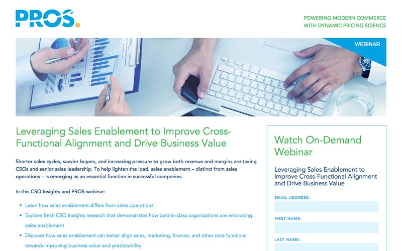 Leveraging Sales Enablement | PROS Webinars | PROS