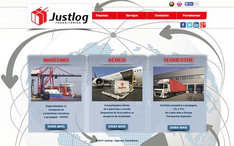 Screenshot of Home Page justlog.pt - Justlog - Agentes Transitários - captured Sept. 30, 2014