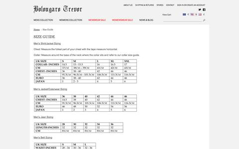 Screenshot of FAQ Page bolongarotrevor.com - Size Guide - captured Sept. 13, 2014
