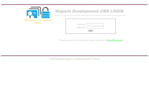 Screenshot of Login Page msnotary.com - Nogient Development Contact Management System - captured Oct. 9, 2014