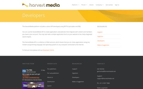 Screenshot of Developers Page harvestmedia.net - Cloud based production music search and distribution platform | Developers | HarvestMedia - captured Sept. 25, 2014