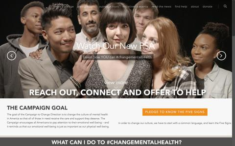 Screenshot of Home Page changedirection.org - Home-Page - The Campaign to Change Direction - captured July 9, 2018