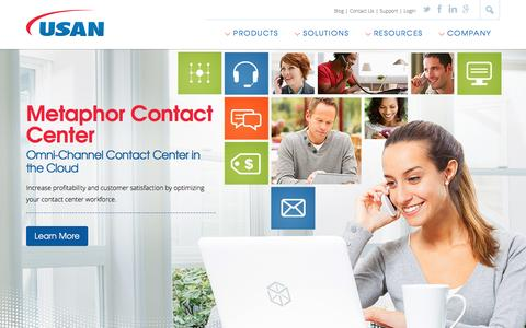 Screenshot of Products Page usan.com - Omni-Channel Customer Engagement and Contact Center Software Products from USAN - captured Dec. 22, 2015