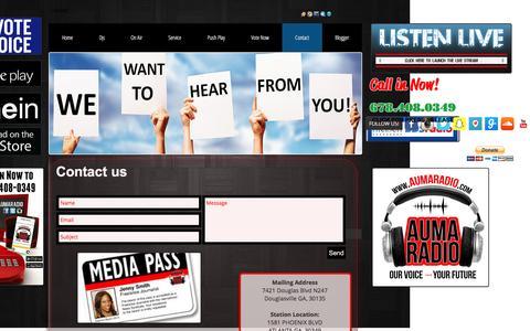 Screenshot of Contact Page aumaradio.com - Contact - captured Nov. 21, 2016