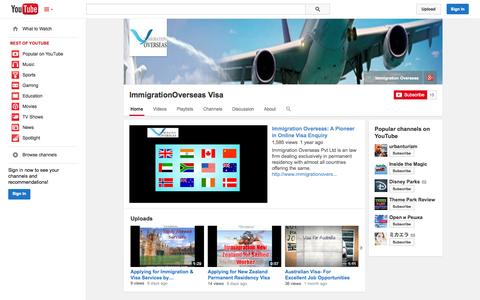 Screenshot of YouTube Page youtube.com - ImmigrationOverseas Visa  - YouTube - captured Oct. 23, 2014