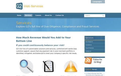 Screenshot of Services Page g2webservices.com - G2 Web Services  |  Services - captured July 18, 2014
