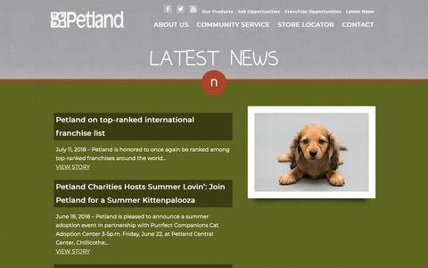 Screenshot of Press Page petland.com - Latest News :: Petland :: Petland Pets Make Life Better! - captured Sept. 27, 2018
