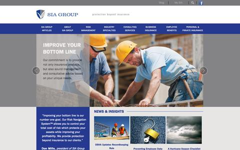 Screenshot of Home Page siagroup.com - SIA Group   Full-Service Insurance Agency - captured Jan. 23, 2015