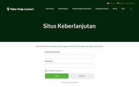 Screenshot of Menu Page tobapulp.com - Situs Keberlanjutan | PT Toba Pulp Lestari Tbk. - captured Oct. 19, 2018