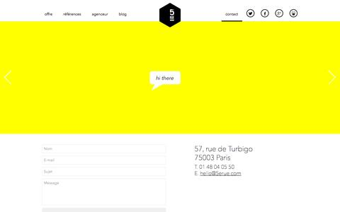 Screenshot of Contact Page 5erue.com - Contact | 5ᵉ Rue - captured Oct. 27, 2014