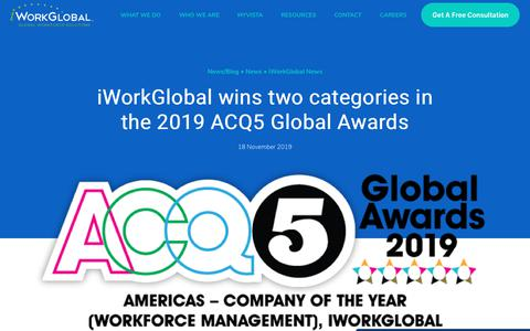 Screenshot of Press Page iworkglobal.com - iWorkGlobal wins two categories in the 2019 ACQ5 Global Awards   Global Employer of Record & IC Compliance - captured Jan. 23, 2020