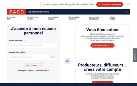 Screenshot of Login Page sacd.fr - Me connecter à l'Espace Personnel | SACD - captured July 26, 2018