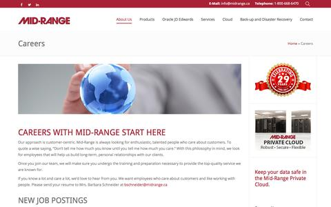 Screenshot of Jobs Page midrange.ca - Careers - Mid-Ranged Managed IT Services - captured Oct. 18, 2017