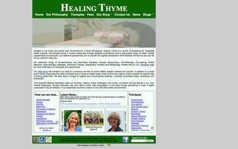 Screenshot of Home Page healing-thyme.co.uk - Healing Thyme Alternative Therapies Centre - captured March 6, 2016
