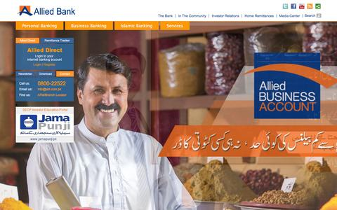 Screenshot of Home Page abl.com - Allied Bank | Aap Kay Dil Mein Hamara Account - captured Jan. 14, 2016