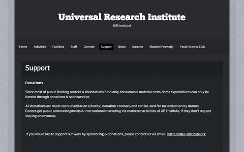 Screenshot of Support Page ur-institute.org - » Support - Universal Research Institute - captured Oct. 19, 2017
