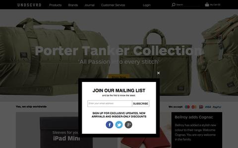 Screenshot of Home Page undscvrd.com - UNDSCVRD - Exclusive Bags & Accessories For Men at UNDSCVRD UNDSCVRD - captured Sept. 30, 2014