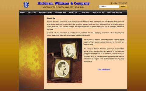 Screenshot of About Page hicwilco.com - About Us | Hickman, Williams & Company - captured Oct. 2, 2014