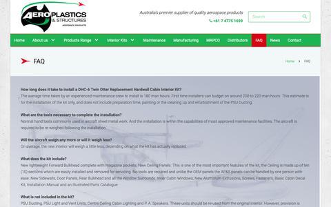 Screenshot of FAQ Page aeroplastics.com.au - FAQ - Aeroplastics, Australia, Aerospace Products - captured Oct. 3, 2018