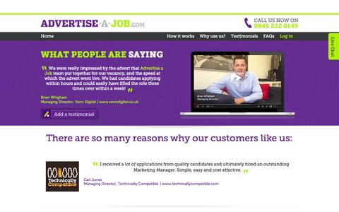 Screenshot of Testimonials Page advertise-a-job.com - Testimonials | Advertise a job | Advertise a job - captured Sept. 30, 2014