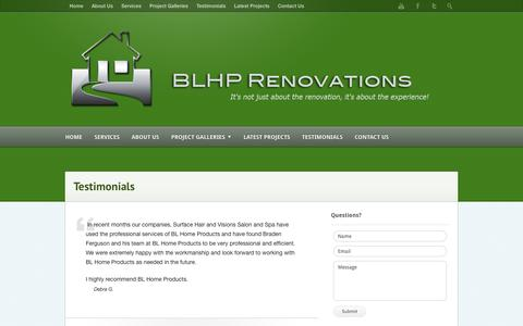 Screenshot of Testimonials Page blhomeproducts.com - Testimonials | BL Home Products – Your Saskatoon Renovation Specialists! - captured Sept. 30, 2014