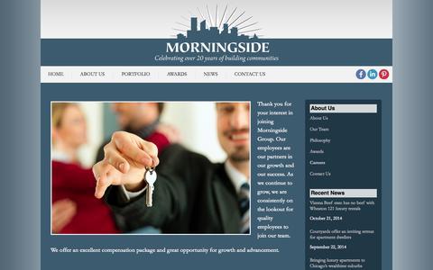 Screenshot of Jobs Page morningsideusa.com - Careers | Morningside USA - captured Oct. 26, 2014