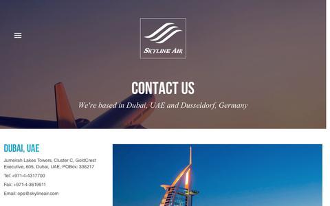 Screenshot of Contact Page skylineair.com - Contact   Skyline Air - captured July 23, 2016